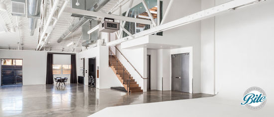 Lightbox Studio contains an upstairs VIP room, makeup room, projector, and outside patio