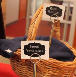 Tortillas in baskets on buffet