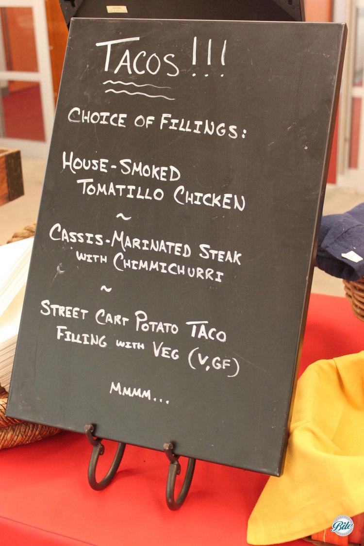 Chalkboard menu for taco bar on buffet