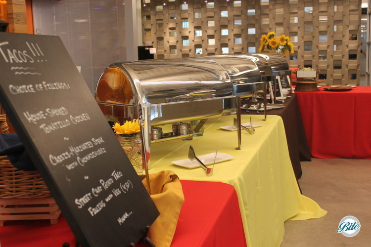 Taco Bar on Buffet in Metal Chafing Dishes