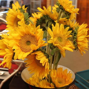 Sunflowers Brighten the Buffet