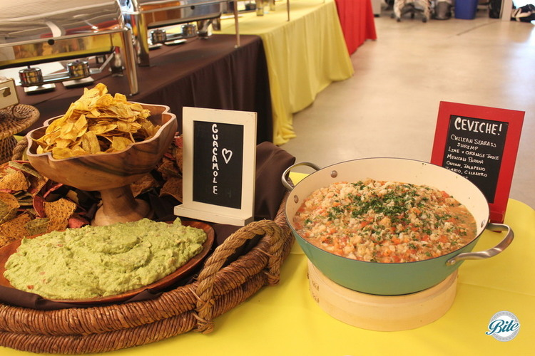 Fresh guacamole with Haas Avocados and assorted chips including tricolo corn and plantain chips