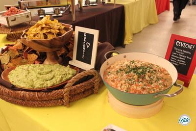 Ceviche, guacamole, and pico de gallo