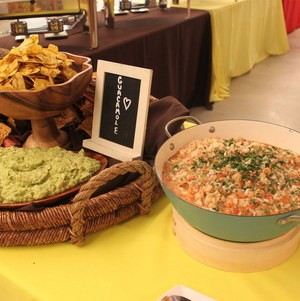 Mexican chip and dip station on buffet
