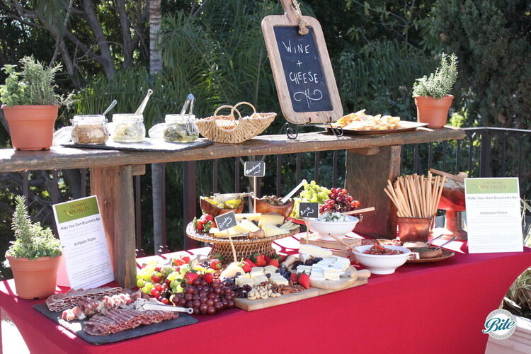 Antipasto platter, assorted cheeses (gouda, brie, manchego), and build your own bruschetta bar. Accompanied by crackers, pickles, and fresh mustard