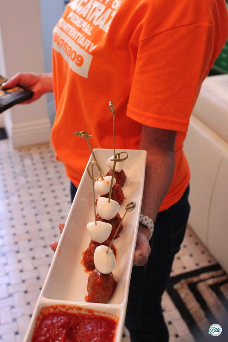 Hearty meatballs passed on a bamboo skewer w/ mozzarella and a marinara dipping sauce