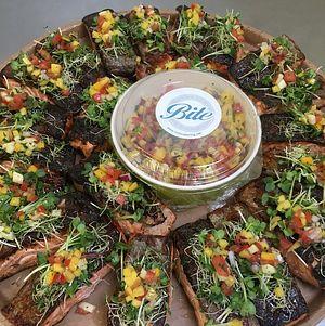 Crispy BBQ Salmon on delivery platter