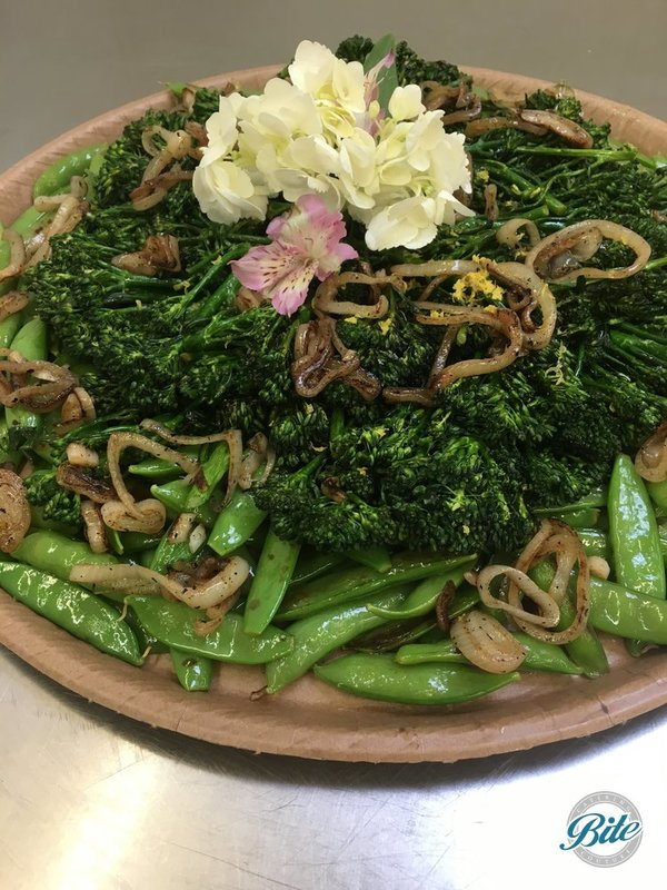 Citrus grilled broccolini & snap peas, roasted pecans, shallots and lemon olive oil.