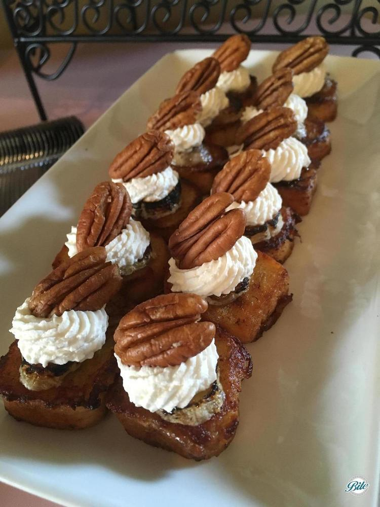 Mini French Toast w/ bruleed bananas, pecan, whipped cream