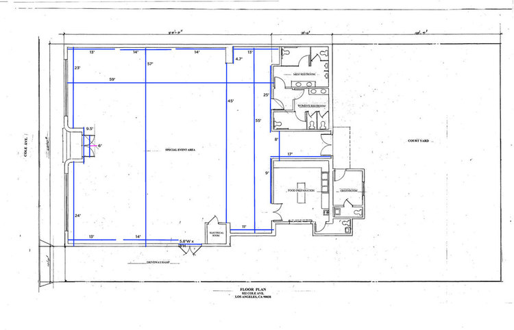 Floor plan with dimensions for events using Cole space at At the P