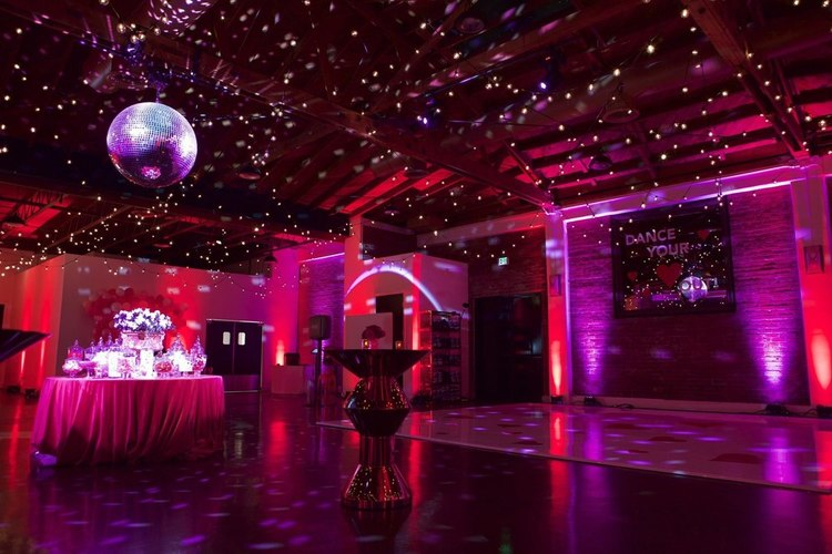 Dance floor, lighting, candy bar, highlight the use of Cole space At the P for a dance party
