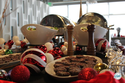 Desserts on Holiday Buffet amongst Ornaments