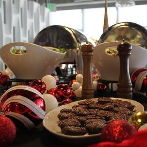 Desserts on Holiday Buffet amongst Ornaments