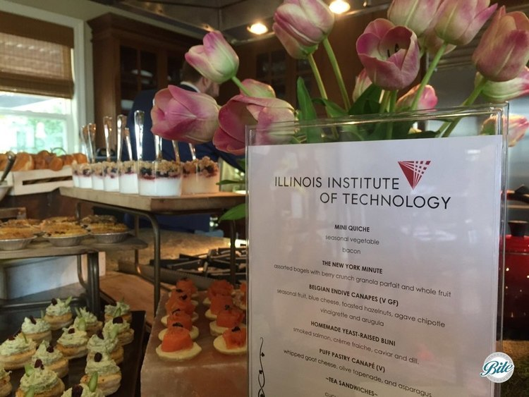 Alumni Brunch with a menu of hors d'oeuvres, tea sandwiches, continental breakfast options, and dessert