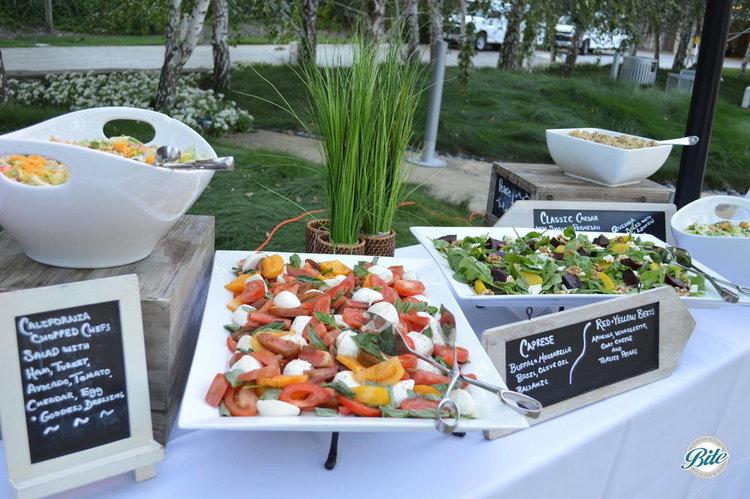 California Chopped Chef's Salad, Caprese Salad, Red-Yellow Beet Salad, Caeser Salad, Quinoa Salad