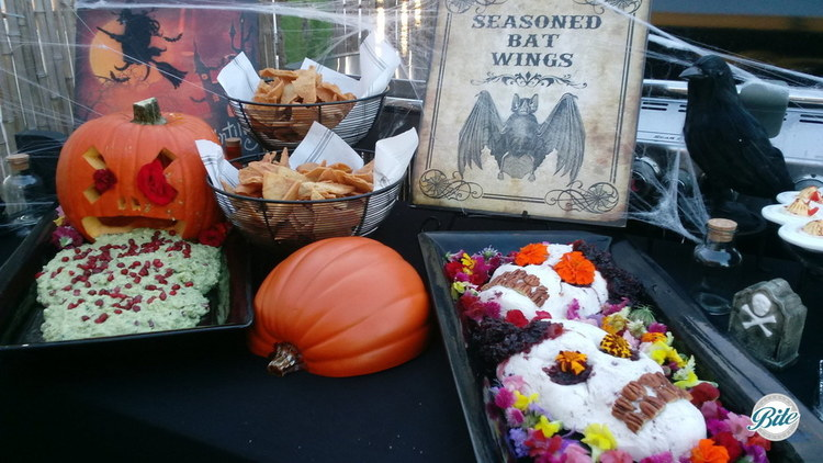 Halloween Display with Pumpkin Puke, Blood Skull, Devil's Eggs and Halloween signs and decor