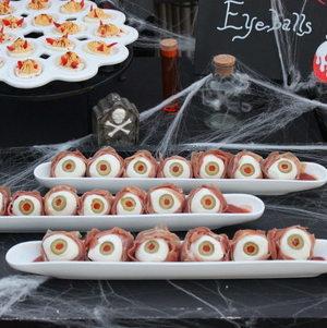 Eyeballs and Devil's Eggs on Halloween Display