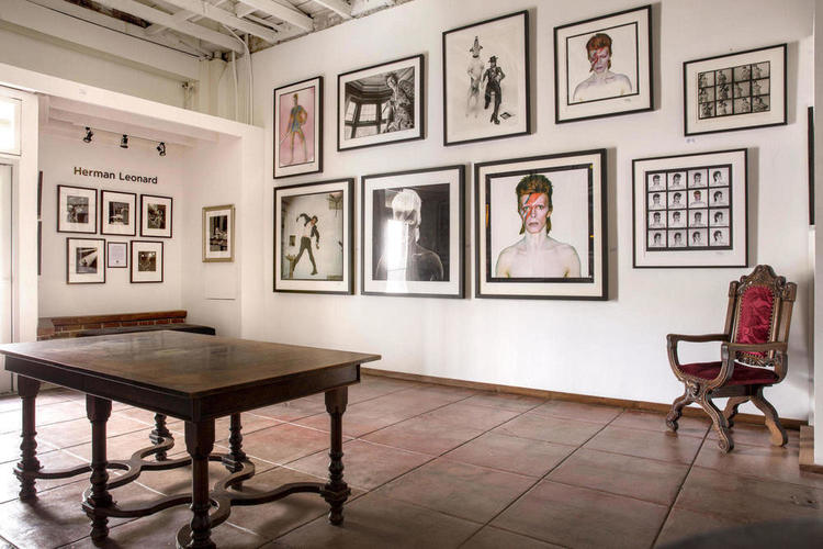 A look into the main gallery space with photographic moments in music history