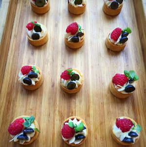 Wooden Tray with Lemon Tarts