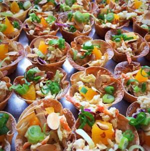 Asian Chicken Salad on Crispy Wonton Bites