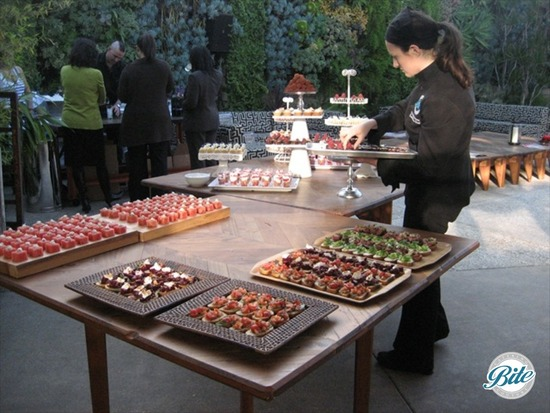 Small bites for reception for film screening at SmogShoppe.  Chef Elizabeth setting up the displays.