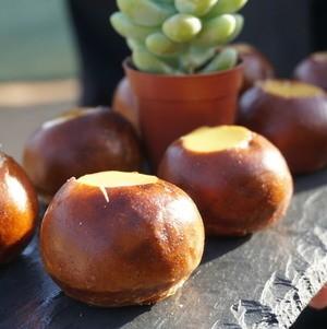 Pretzel canapes  w/ cheese fondue