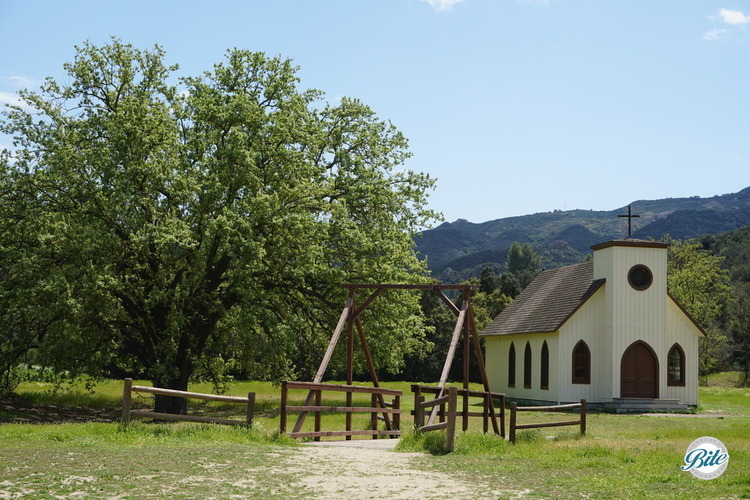 Paramount Ranch view from the town to the church, including the bridge and a large tree