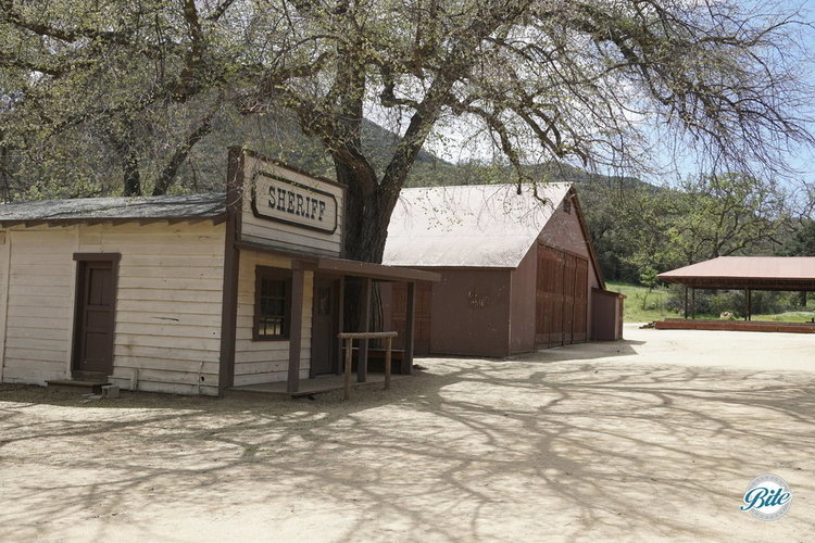 Sheriff's station at Paramount Ranch. If you look inside, you can even see the jail!