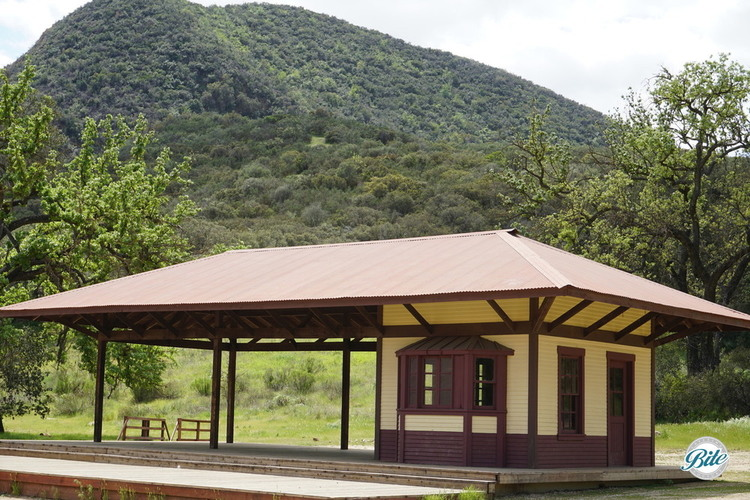 A railroad station with ticket window at the Paramount Ranch. It's a great place for a band!