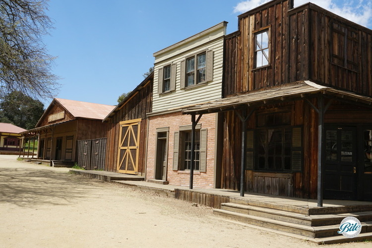 A road with a series of Western facades at the Paramount Ranch
