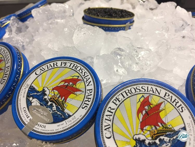 Petrossian caviar in ice bucket waiting for guests to sample