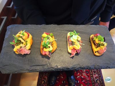 Grilled Flank Stank Crostini on Slate Tray