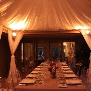 Dinner Setup Under Uplit Tent