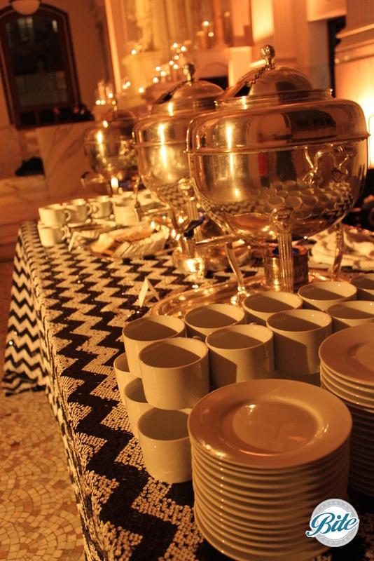 Coffee service on chevron sequin linens and elegant display