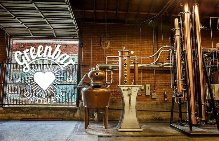 The industrial vibe of the distillery room at Greenbar distillery
