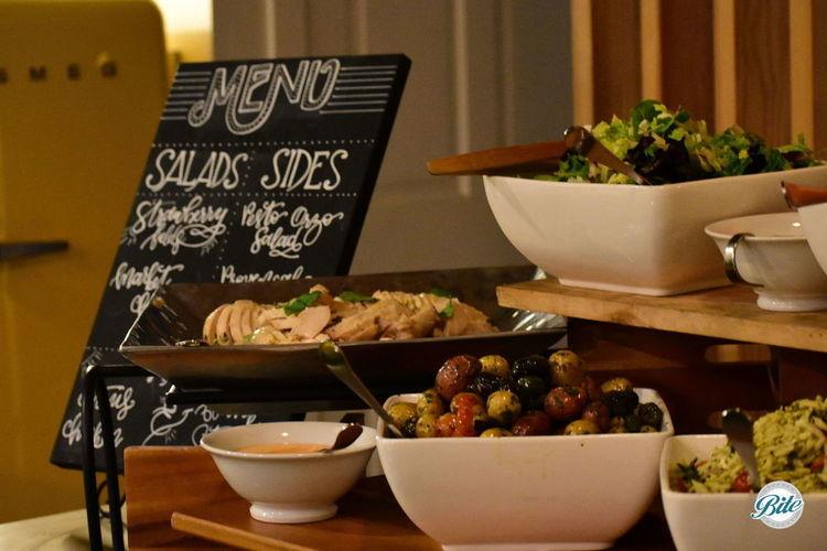 Closeup of the buffet menu.