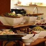 Angled view of a seasonal buffet