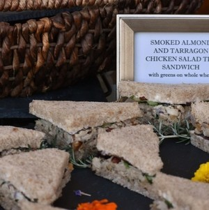 Smoked Almond and Tarragon Chicken Salad Tea Sandwich