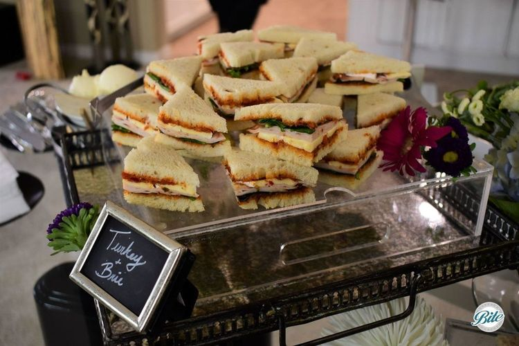 Turkey Brie Tea Sandwiches on risers