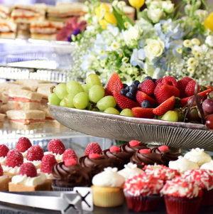 Dessert Assortment with Tea and Fruit