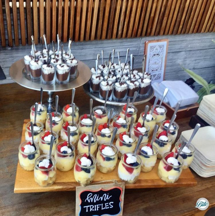 Dessert Shots: Mini Trifles and pot de creme served in individual shot glasses