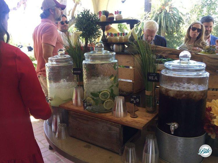 Lemonade, spa water, and ice tea on cinco de mayo buffet