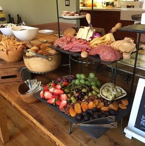 Table w/ Assorted Fruit, Cheese and Charcuterie, Tea Sandwiches
