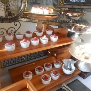 Molten chocolate cakes on wooden display
