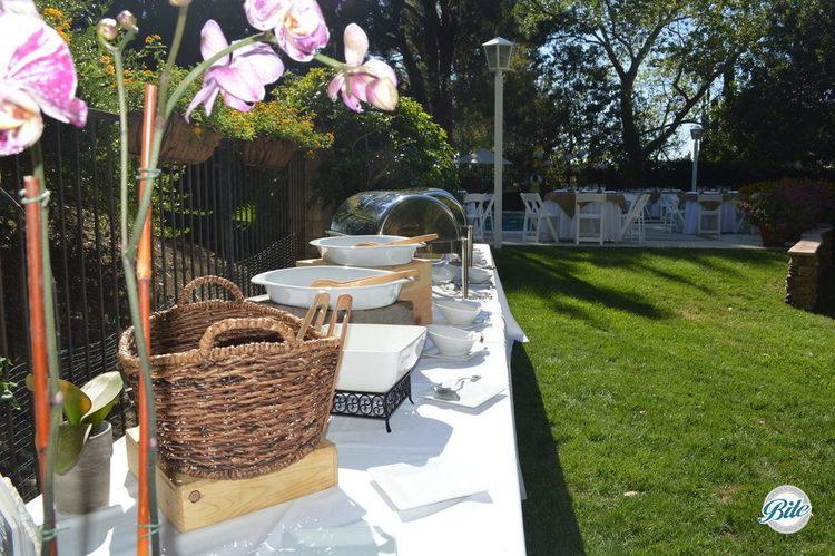 Backyard buffet setup for event
