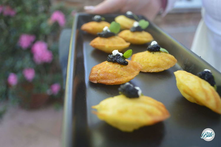 Savory Corn Madeleine with Crème Fraiche and Caviar. Tray passed.