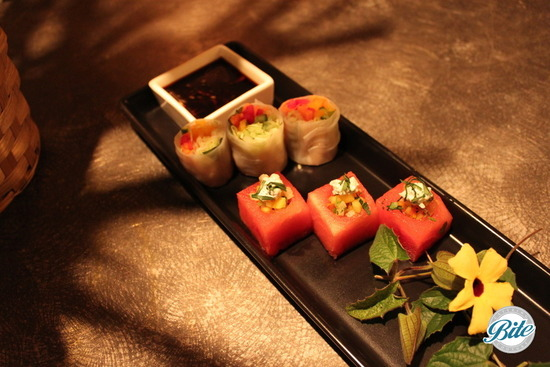 Spring tasting with spring rolls and watermelon bites