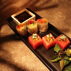 Spring Bites - Watermelon Cubes and Spring Rolls