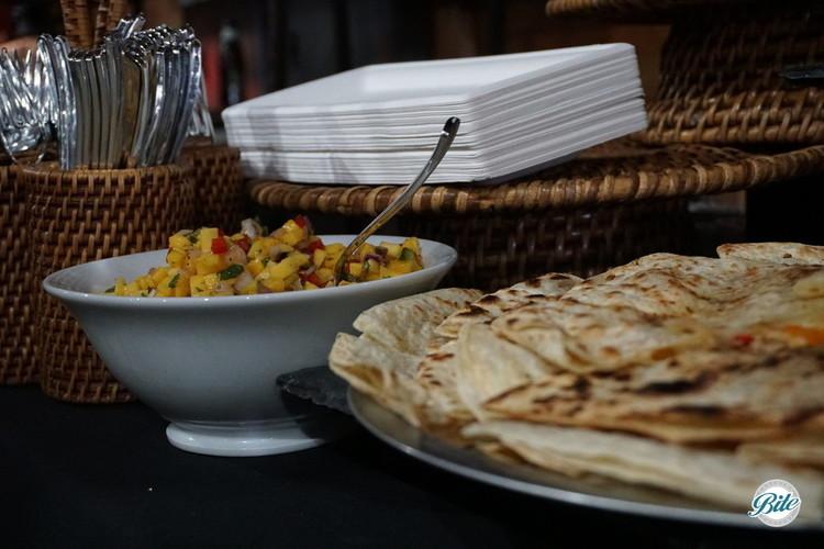 Quesadillas with mango salsa. On display.