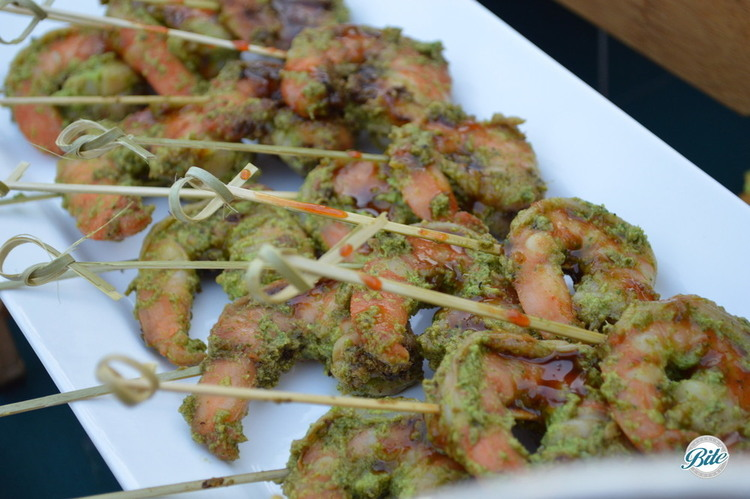 Ginger shrimp on bamboo skewers. Served with a teriyaki aioli.